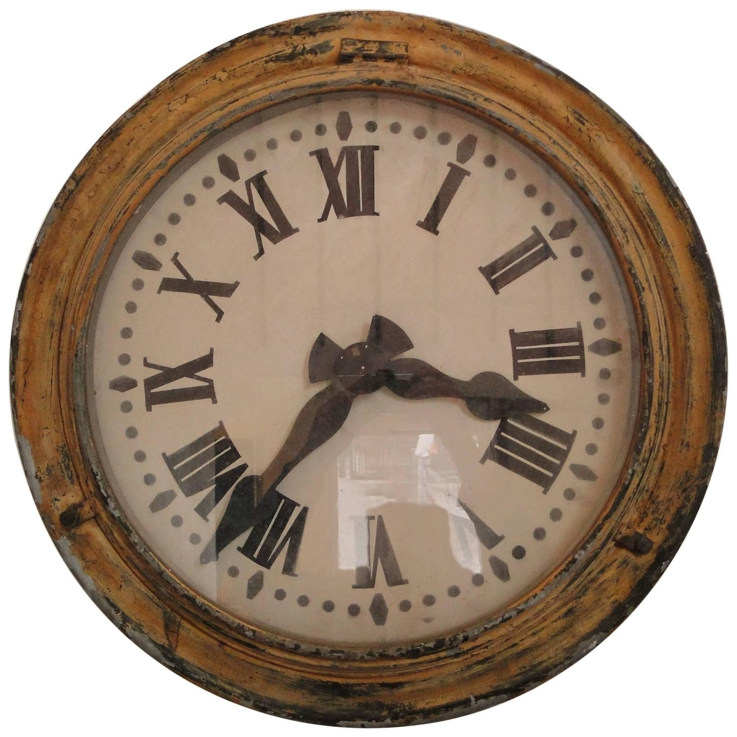 French Brillie Railway Clock Painted Metal 1930s Antique Wall Clocks Clock Diy Clock Wall