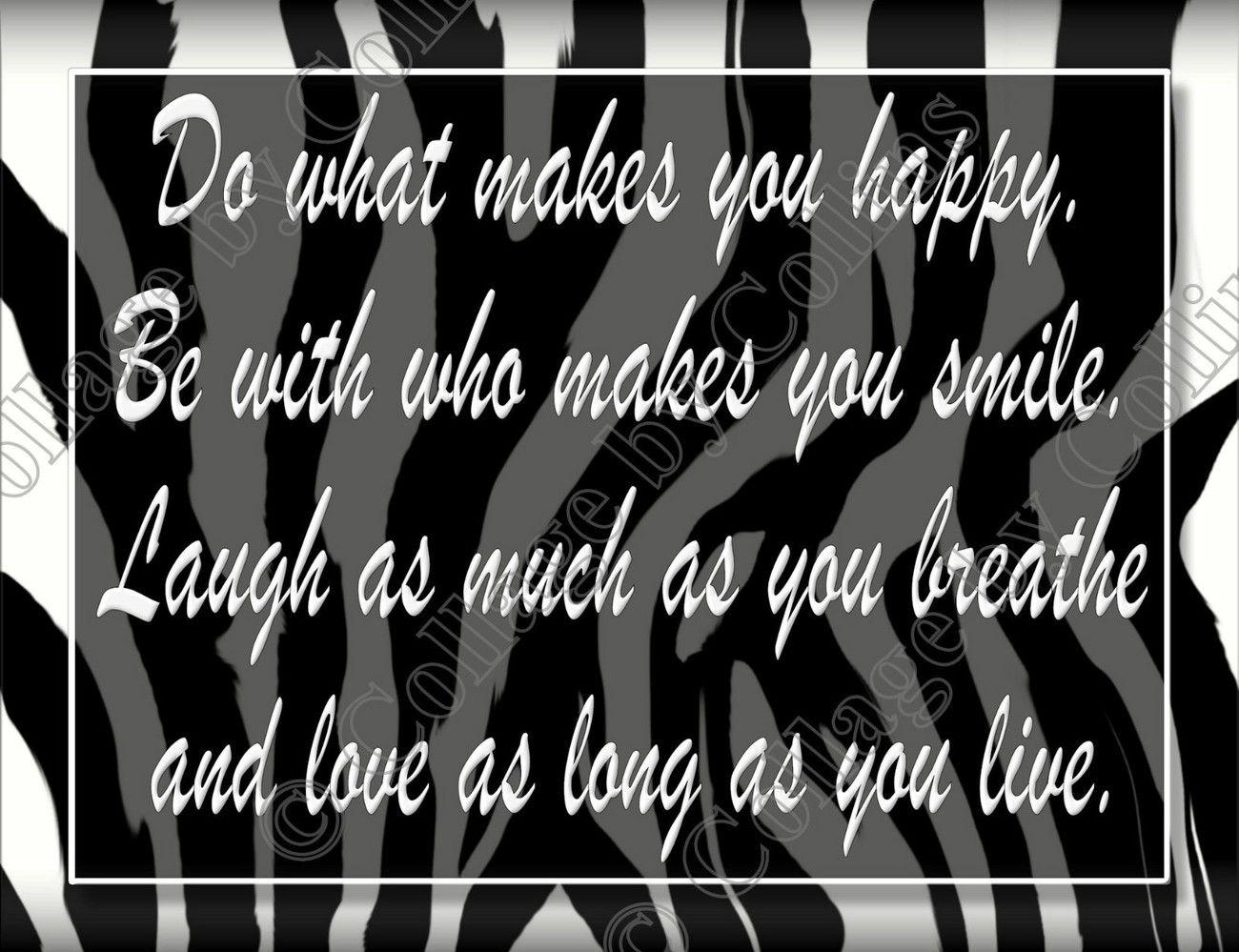 Zebra print girls decor wall art poster black love laugh live quote