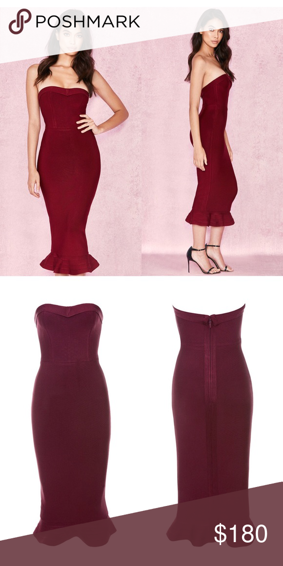 5e644c563309 House of CB Fabrizia Dress, Size XS Only worn once and dry cleaned. Like new.  Color is maroon. House of CB Dresses Midi
