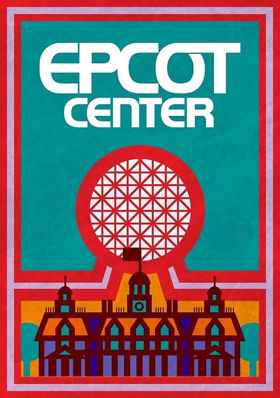 Poster inspired by Retro Epcot Center park map featuring Spaceship ...