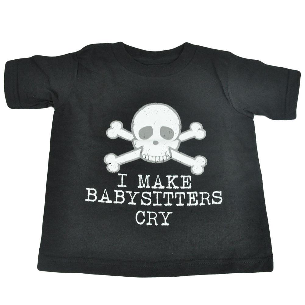I Make Babysitters Cry Skeleton Skull Head Toddler Tee Distressed Tshirt Funny