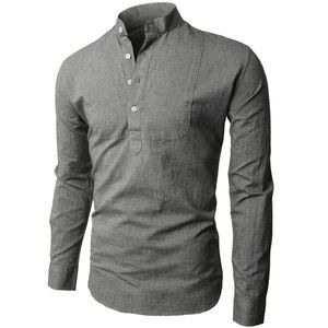 H2H Mens Fashion Vintage Button-Down Shirts with Long Sleeve ...