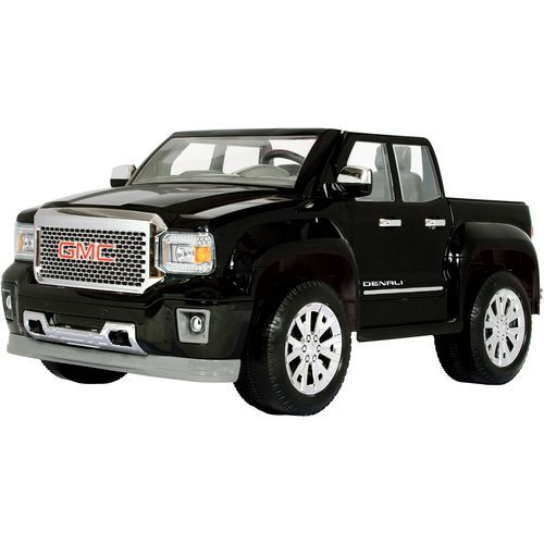 The Rollplay 12v Gmc Sierra Denali Truck Ride On Has Non Slip Rubber Tires And Reaches Forward Speeds Of Toy Cars For Kids Gmc Sierra Denali Kids Ride On Toys