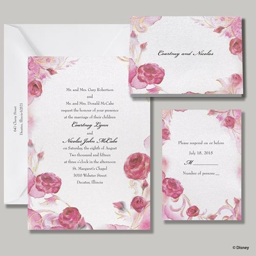 Floral Princess Themed Wedding Invitation