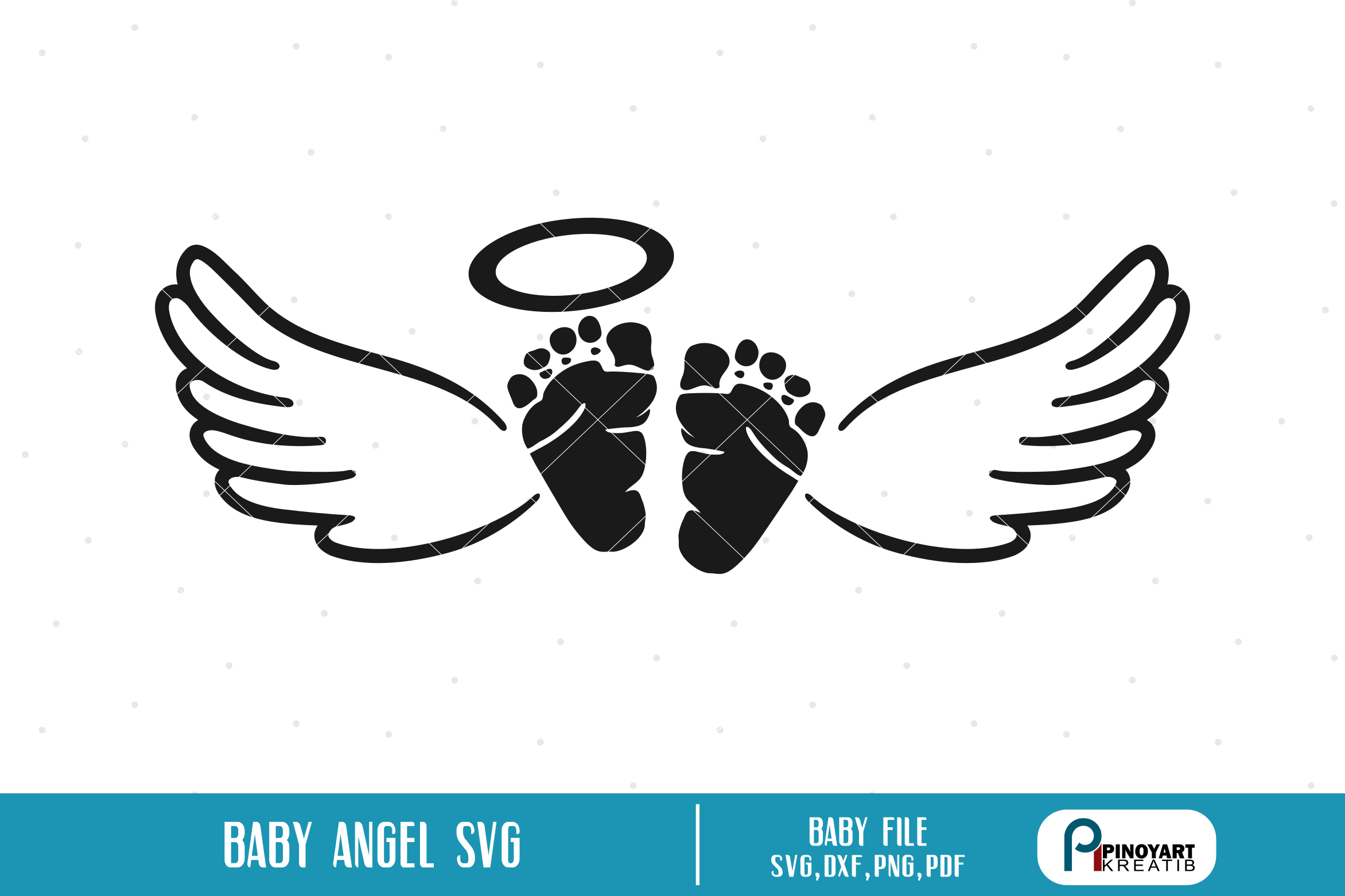 Baby Angel svg a baby feet with wings vector file (With
