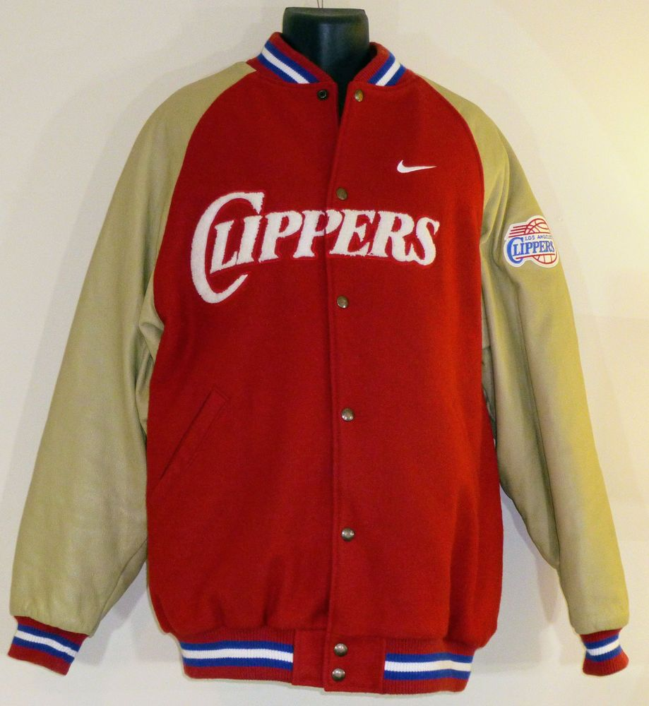 bb195eda0e9c69 ... Rare Nike NBA Los Angeles Clippers XL Wool Leather Red Varsity  Letterman Jacket Nike LosAngelesClippers ...