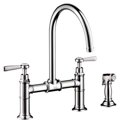 Hansgrohe Axor Montreux Kitchen Bridge with Sidespray and Lever Handle