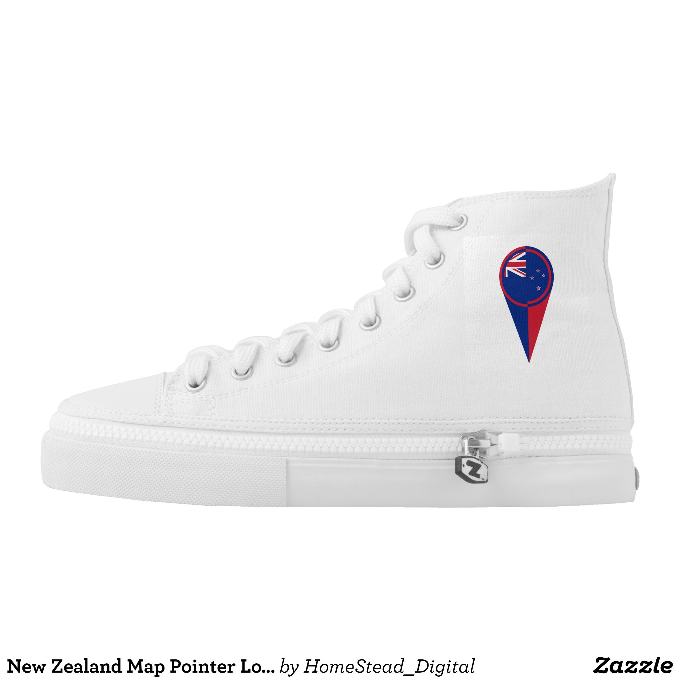 New Zealand Map Pointer Location Flag High Top Sneakers