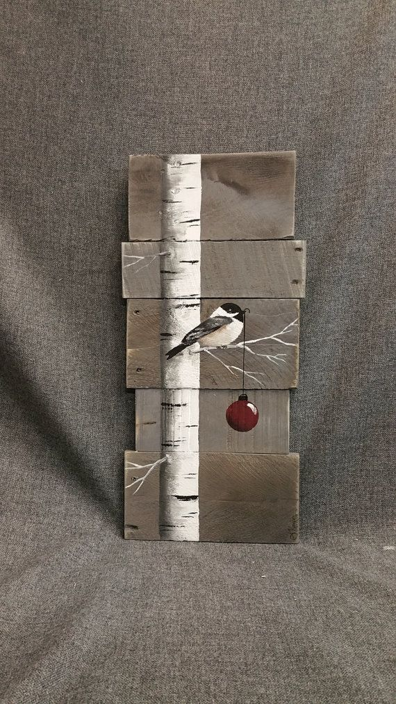 Christmas sign, White Birch, red bulb, Gray Wood Pallet Art, Hand