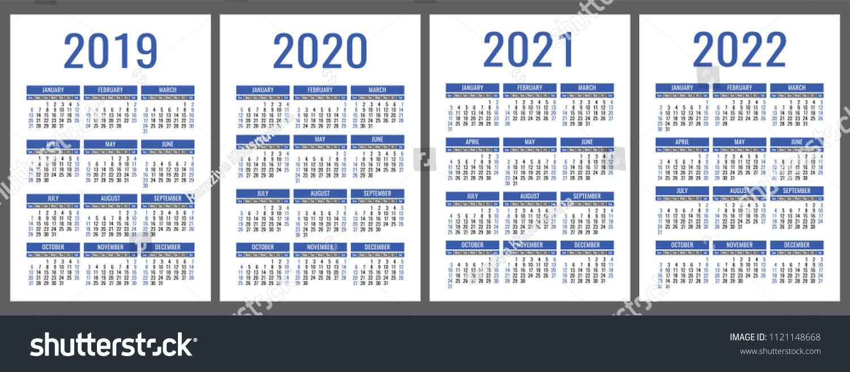 Calendar 2019 2020 2021 2022 Years Vertical Calender Simple