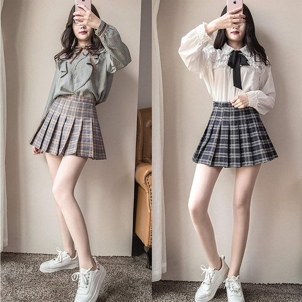 Qingyangmate Mini Pleated Skirt, Plaid High Waist Skirt for Girls