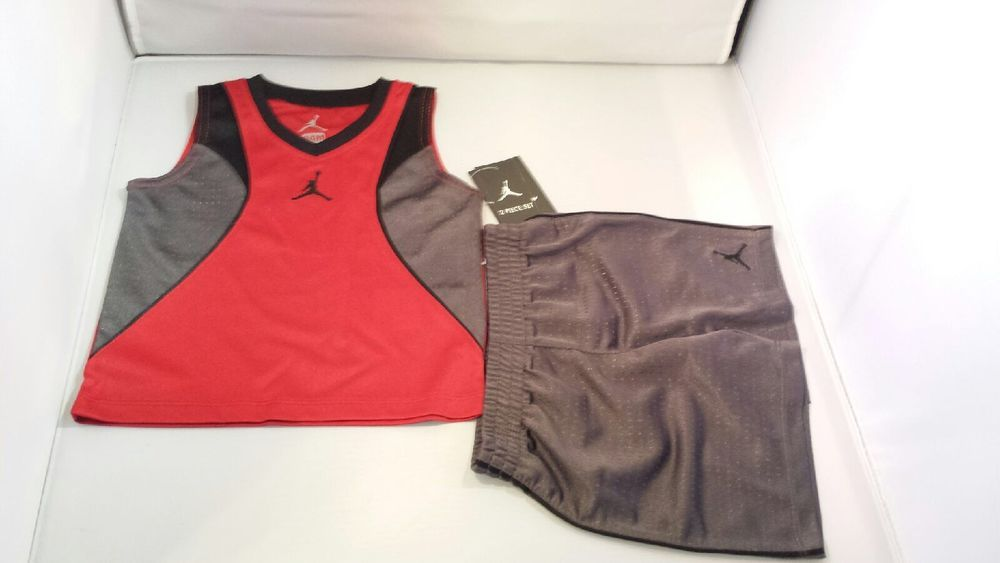 95c6fdb244f7 NWT Nike Air Jordan Boys Jumpman Short Set Red Gray Black 24 Months #Nike