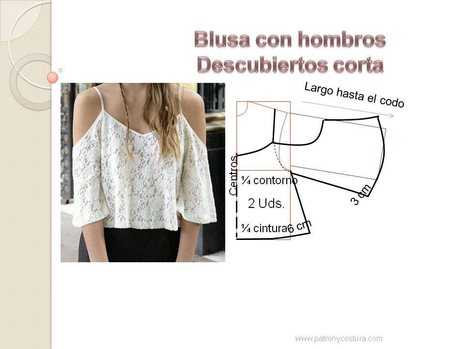 Blusón sin hombros. Tema 124 diy | blusa, camisa, remera ...