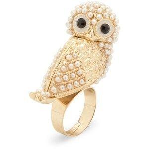 Jon Richard Snowy Pearl Owl 3d Gold Ring Lolobu Gold Rings Fashion White Gold Pearl Ring Gold Rings