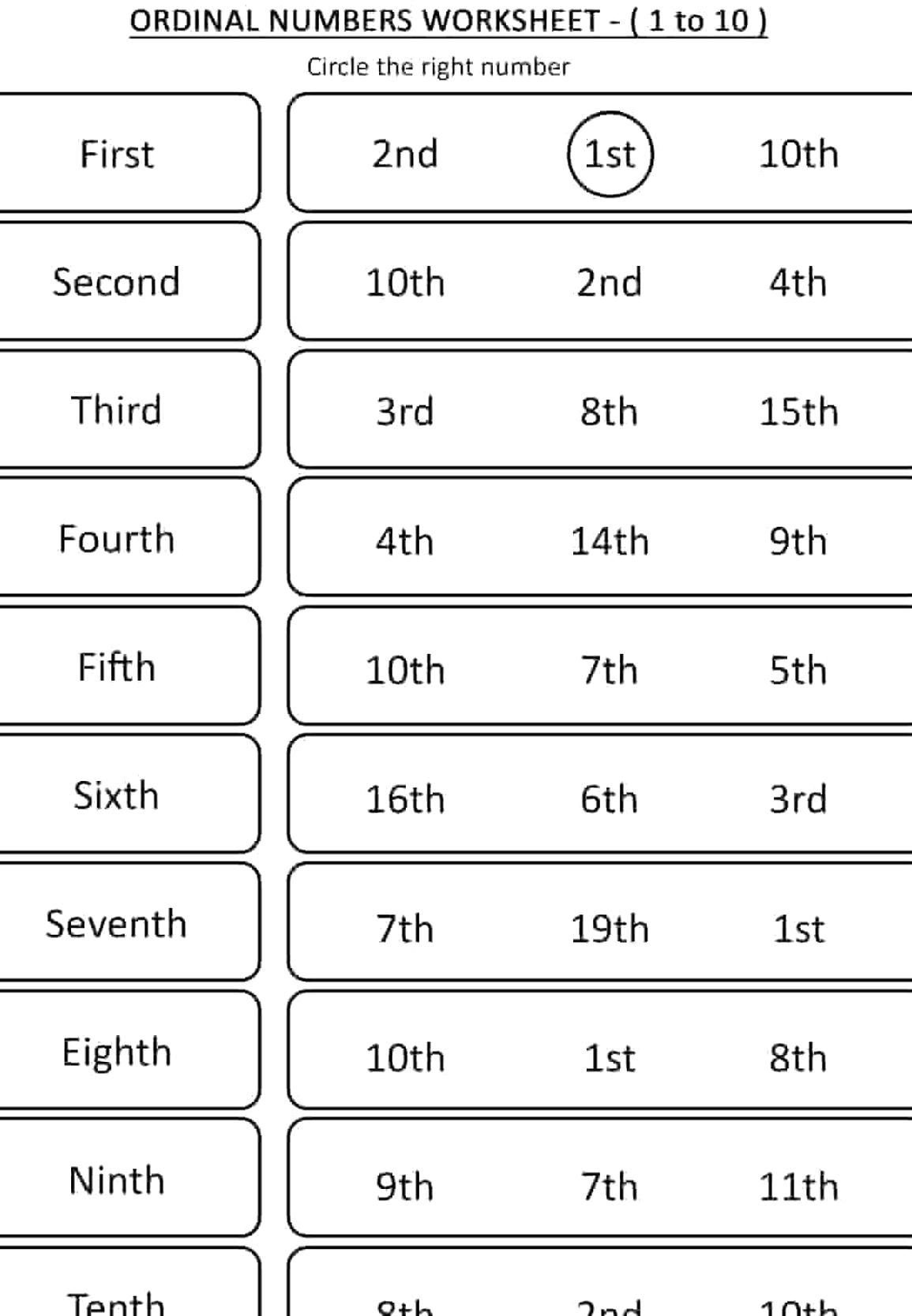 Free Downloadable English Ordinal Numbers Worksheets For