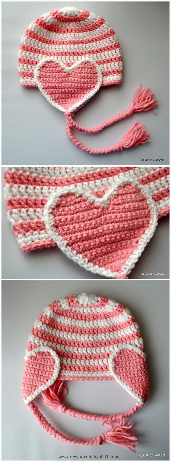 Baby Knitting Patterns Crochet Valentine Heart Earflap Hat ...