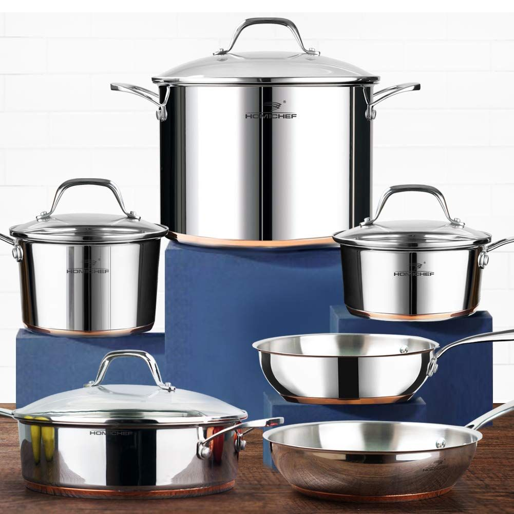 Homi chef 10piece nickel free stainless steel cookware set