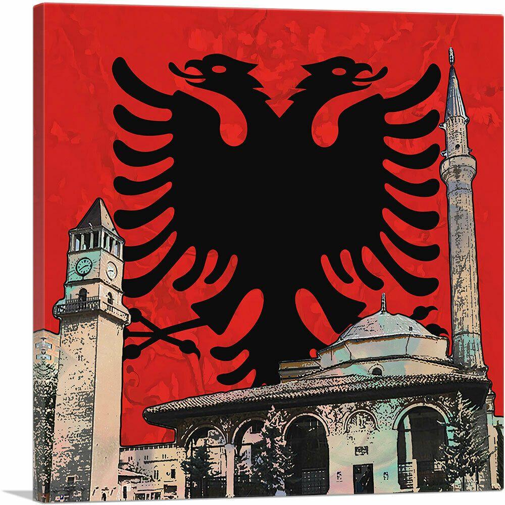 Et Hem Bey Mosque Clock Tower Albanian Two Headed Eagle Crest Canvas Art Print Eagle Art Eagle Eagleart 79 Canvas Art Prints Canvas Art Eagle Wall Art