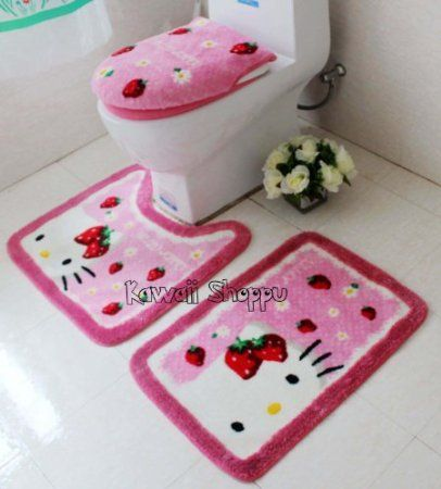 Hello Kitty Bathroom Set Of Toilet Seat Cover And Two Area Rugs