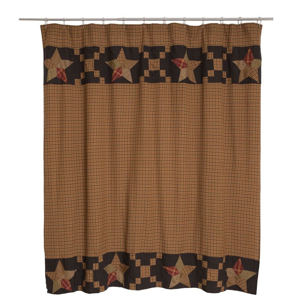 New Country Primitive Arlington STAR QUILT BLOCK BORDER Navy Tan Shower Curtain