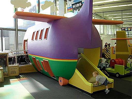 Also great for kids at O'Hare in Chicago, a flight-themed playground with a wonderfully colorful play airplane.