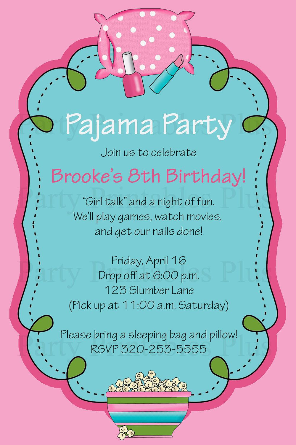 Pajama, Sleepover, or Slumber Party Birthday Invitation - Aqua, Pink ...