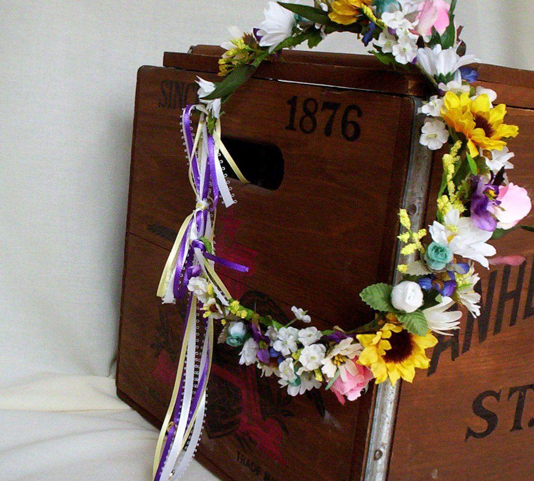 Fall Wedding Hairstyles With Flower Crown: Flower Crown Sunflower Hippie Head Wreath Music Festival