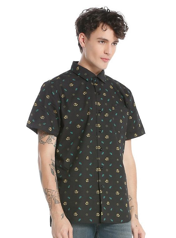Stitch Fur Disney Inspired Mens Button Down Short Sleeve Shirt