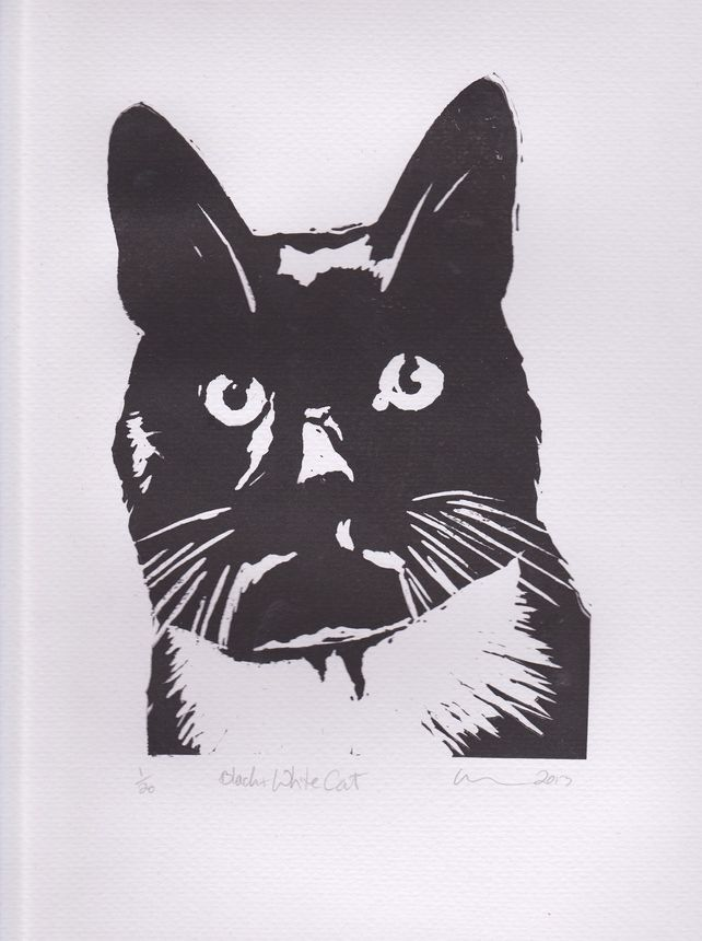 Black & White Cat Limited Edition Hand-Pulled Linocut Print #mayblossoms