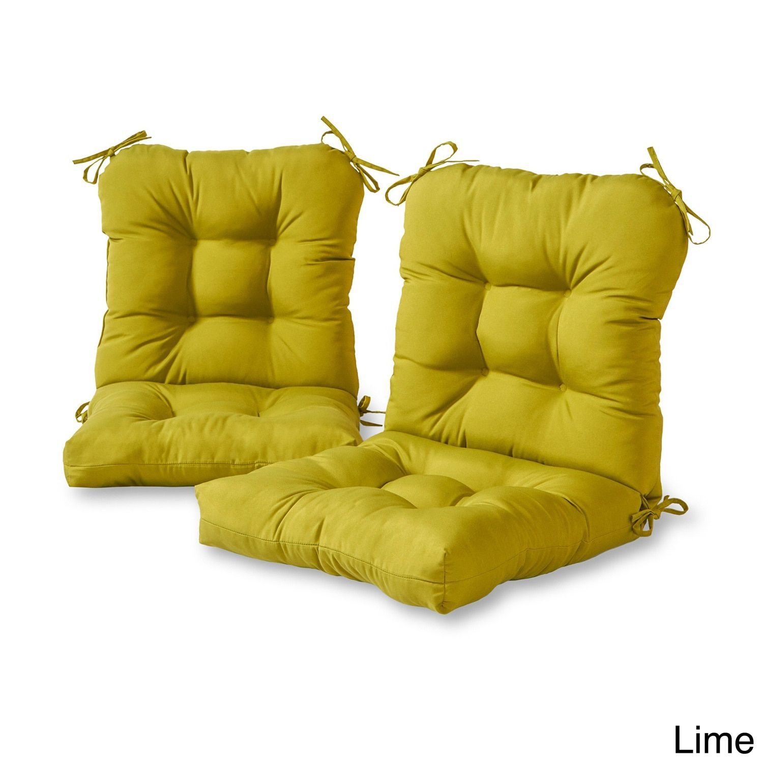 Outdoor Seat Back Chair Cushions Set Of 2 Lime Green Plastic