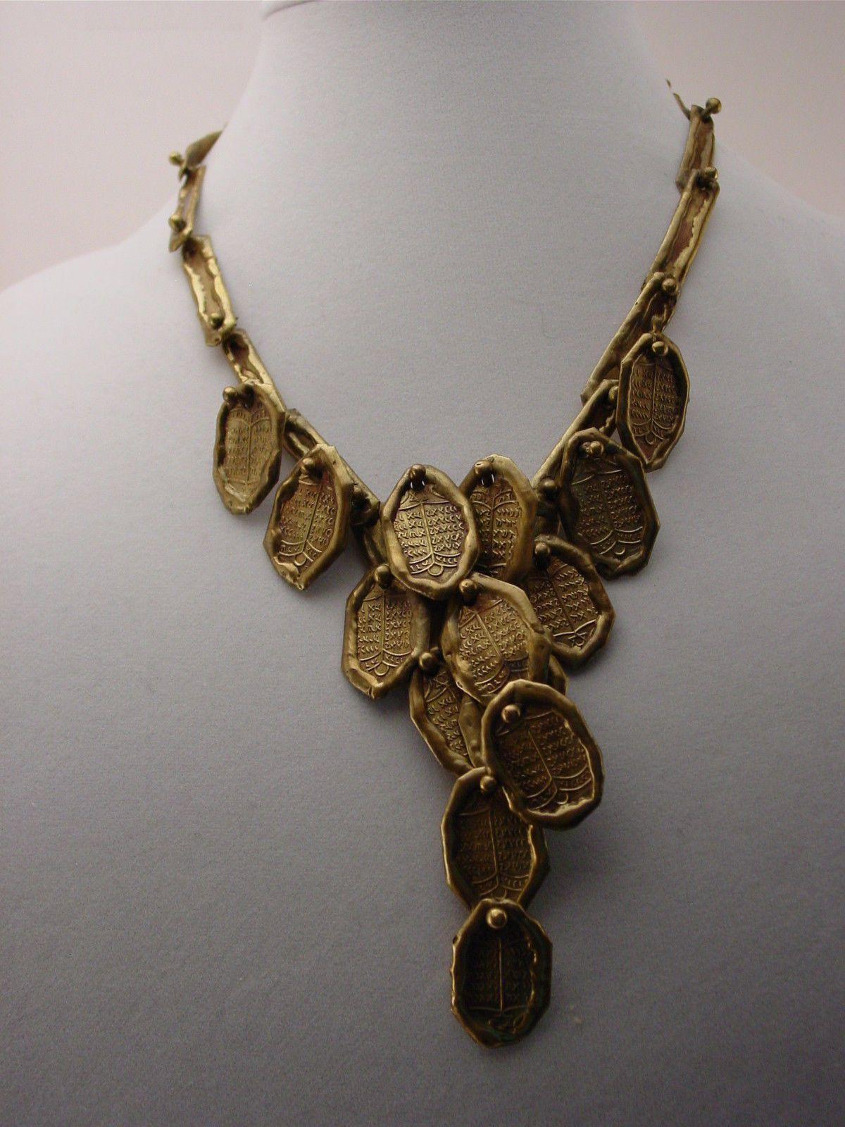 Vintage Estate PAL KEPENYES Signed Brass or Bronze Modernist Brutalist  Necklace