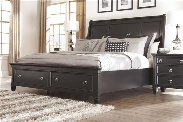 Greensburg Cottage Black Wood King Sleigh Bed Beds Pinterest