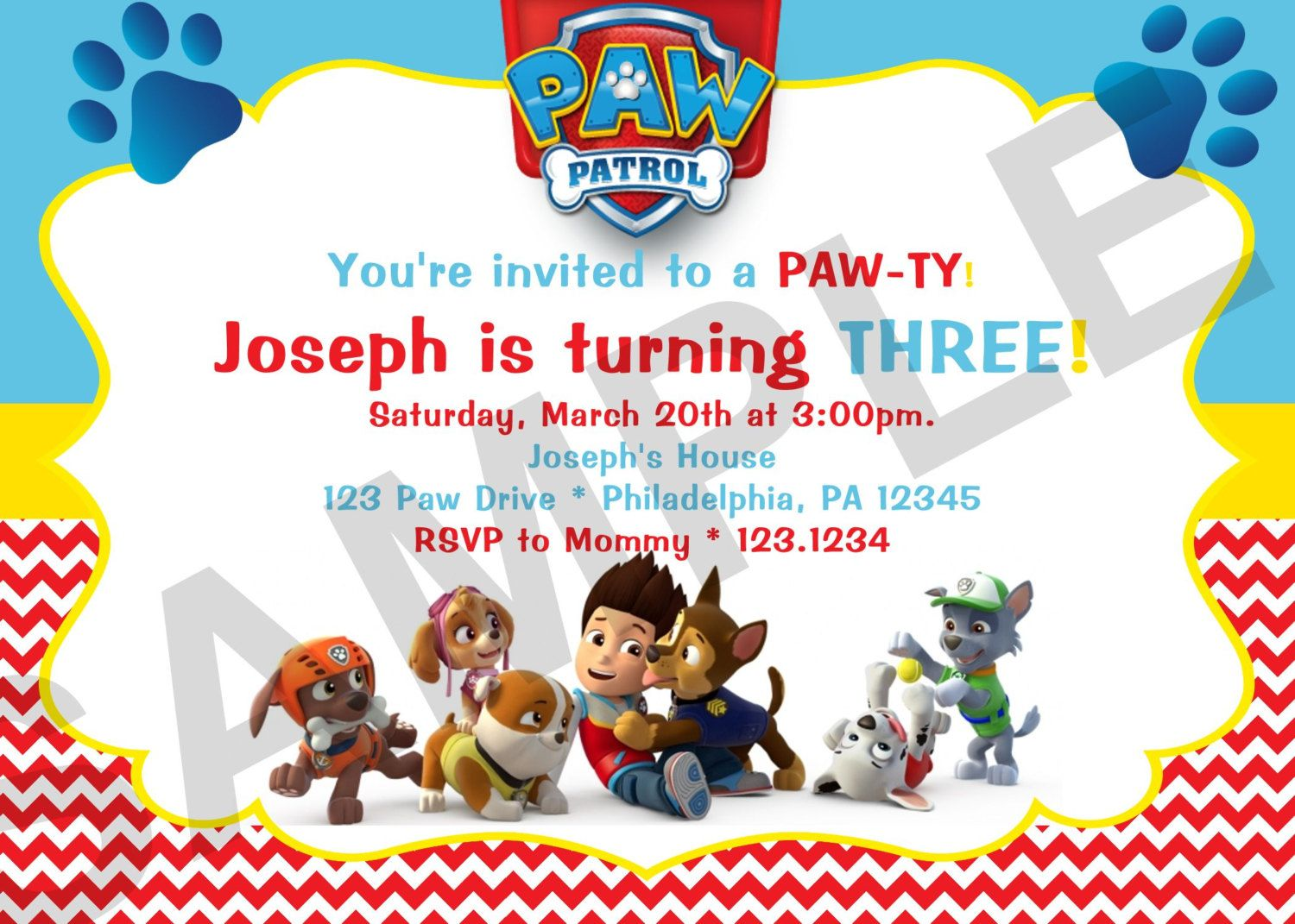 Download Paw Patrol Birthday Invitations For Free Just Right Click
