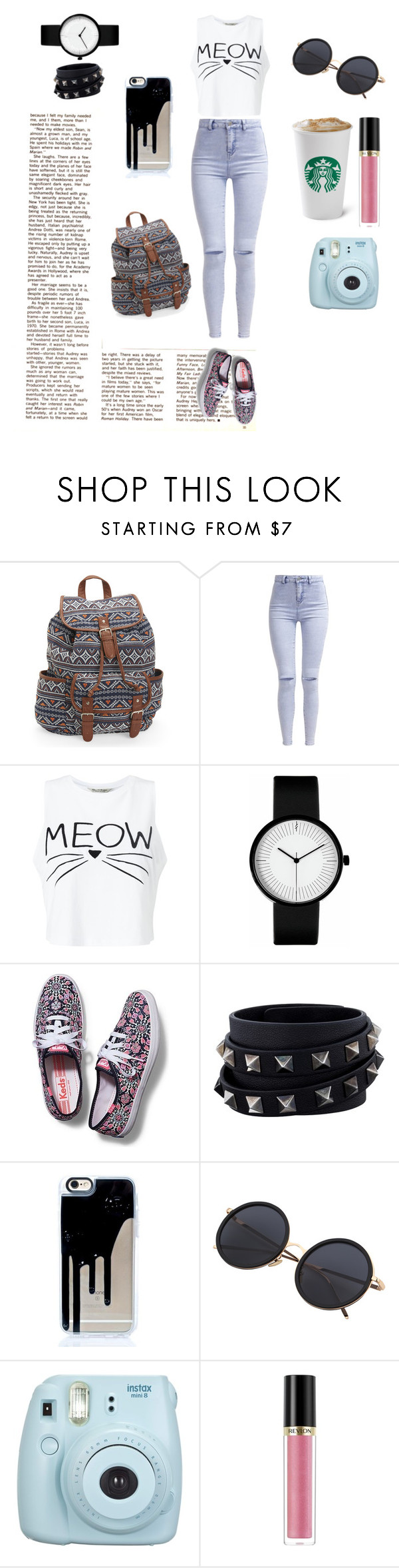 """Untitled #33"" by aishaamer ❤ liked on Polyvore featuring Aéropostale, New Look, Miss Selfridge, Keds, Valentino, Fujifilm and Revlon"