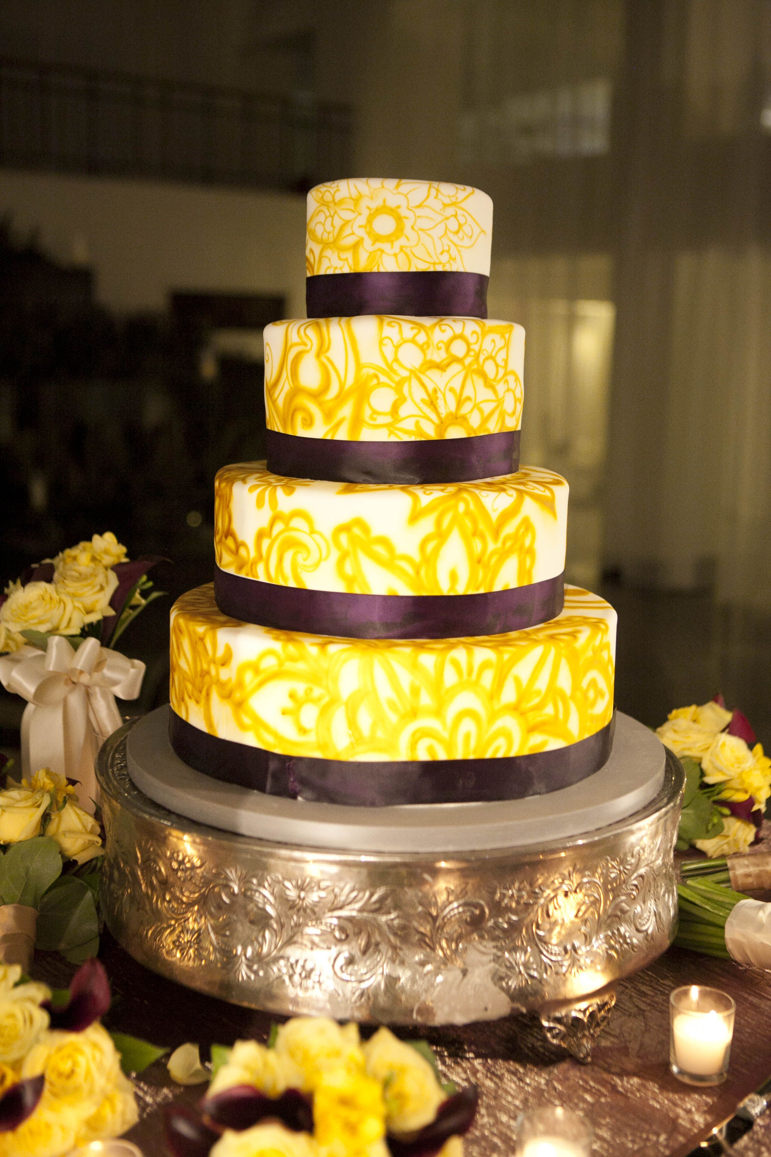 Beautiful purple and mustard wedding cake! | When I get to say I DO ...