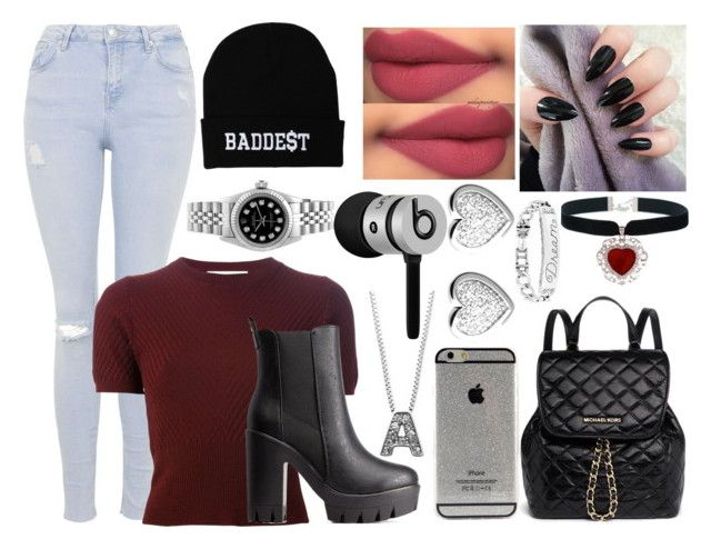 """""""Baddest"""" by aaliyahsalmon on Polyvore featuring Topshop, Marni, Charlotte Russe, Beats by Dr. Dre, Anne Klein, MICHAEL Michael Kors, Links of London and Rolex"""