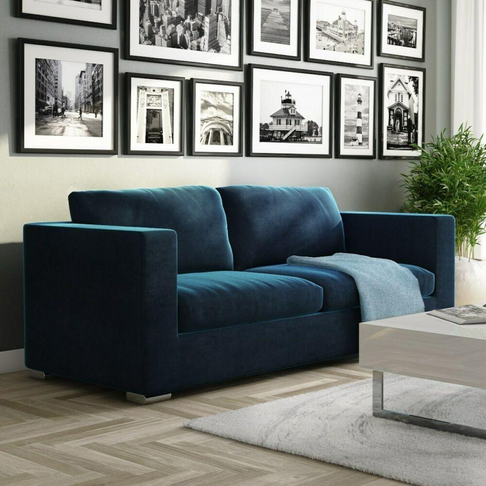 Clara Navy Sofa in Velvet - Seats 3 SOF025 in 2020 | Blue ...