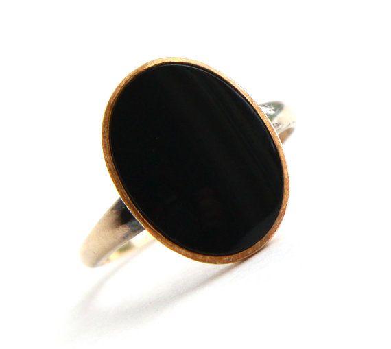 Vintage 12k Gold Filled yx Ring yx Black Stone Size 9 Retro
