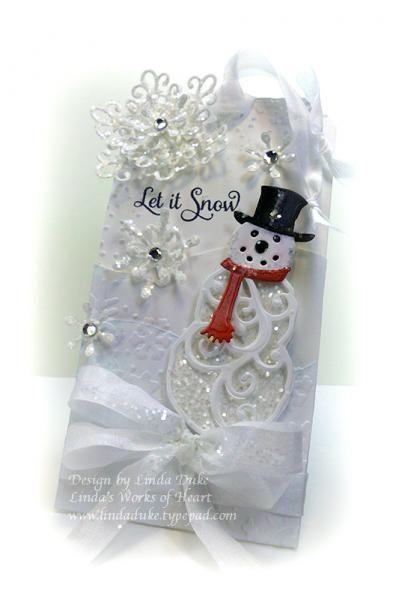 September 29, 2013 Linda Duke: Christmas Tag: Spellbinders Mr. and Mrs. Snowman Die Set, Gelatos