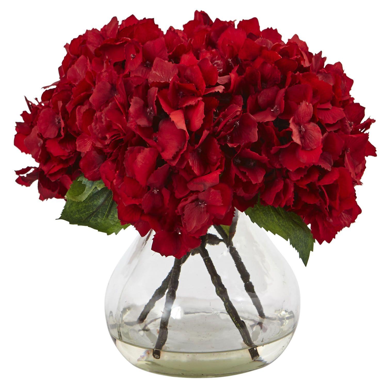 Red hydrangea with vase silk flower arrangement kitchen red hydrangea with vase silk flower arrangement dhlflorist Gallery