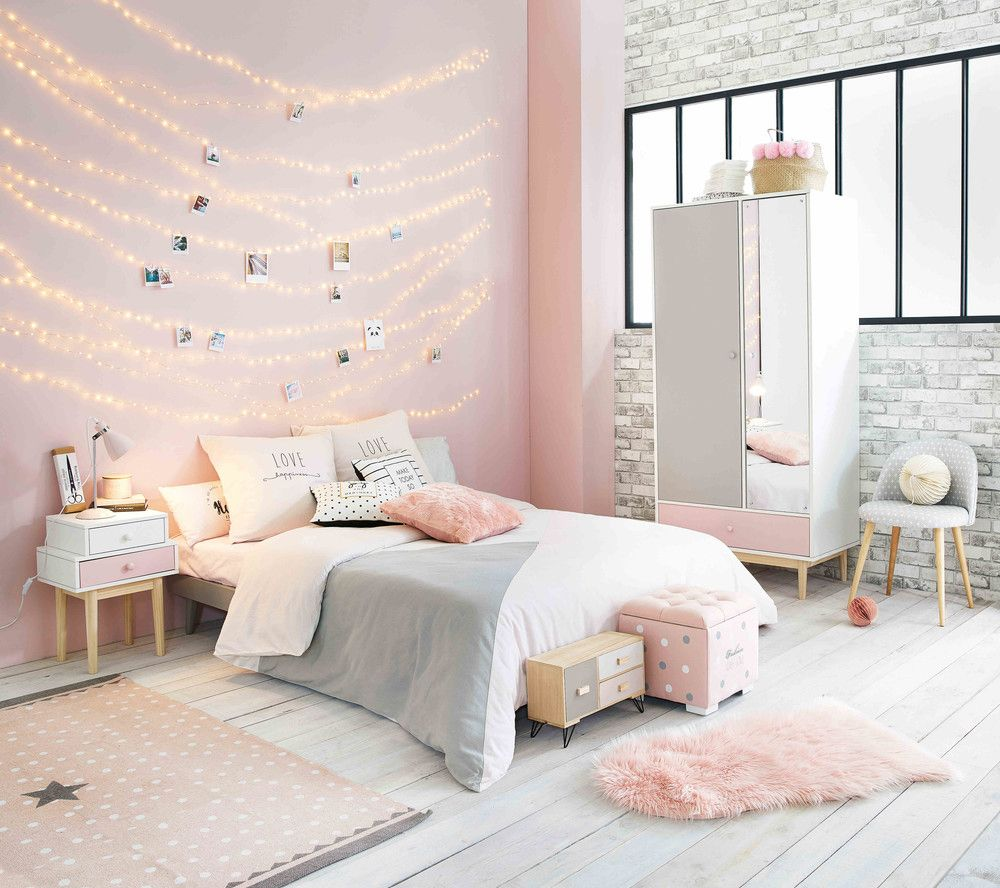 Black And Blush Pink Girls Room Decor: Pink Girl's Bedroom With Pink And White Wardrobe BLUSH