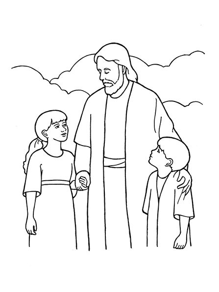 An illustration of Christ with two children, from the