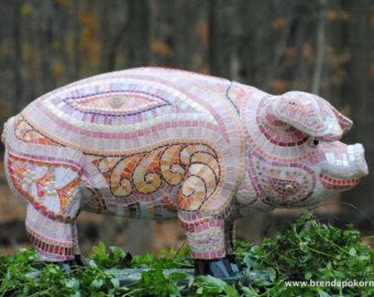 Some Pig Mosaic Pig Garden Statue One Of A Kind Mosaic On Cement By Brenda  Pokorny