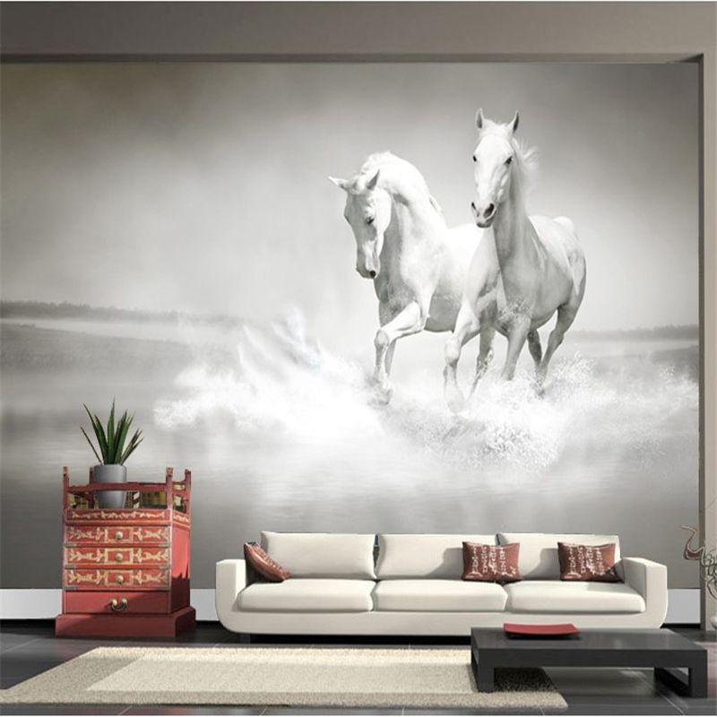 Beibehang Custom Photo White Horse Large Murall Wall Paper Sofa Bedroom Tv Backdrop 3d Mural Wallpaper For W Horse Mural Mural Wallpaper Custom Photo Wallpaper