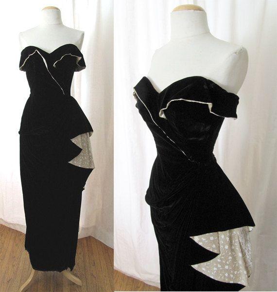 Stunning 1950\'s Strapless Black Velvet Evening Gown w/ Brocade Trim ...