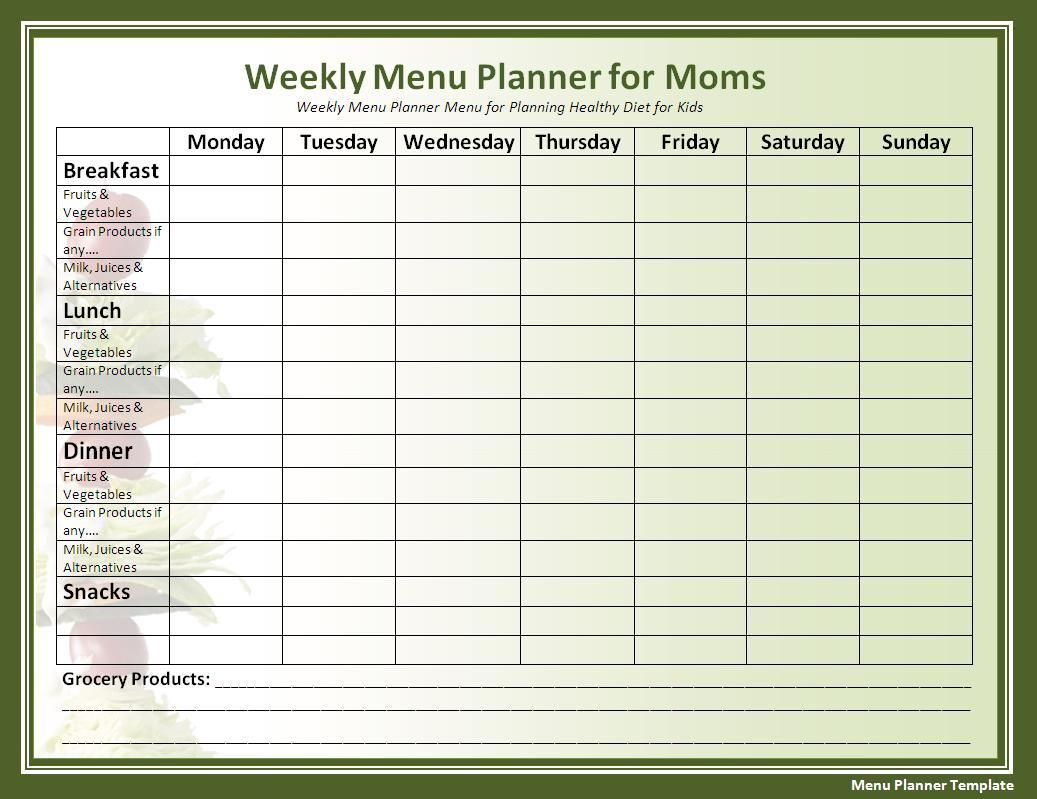 A menu planner will make you have proper diet and feed your family – Diet Menu Template