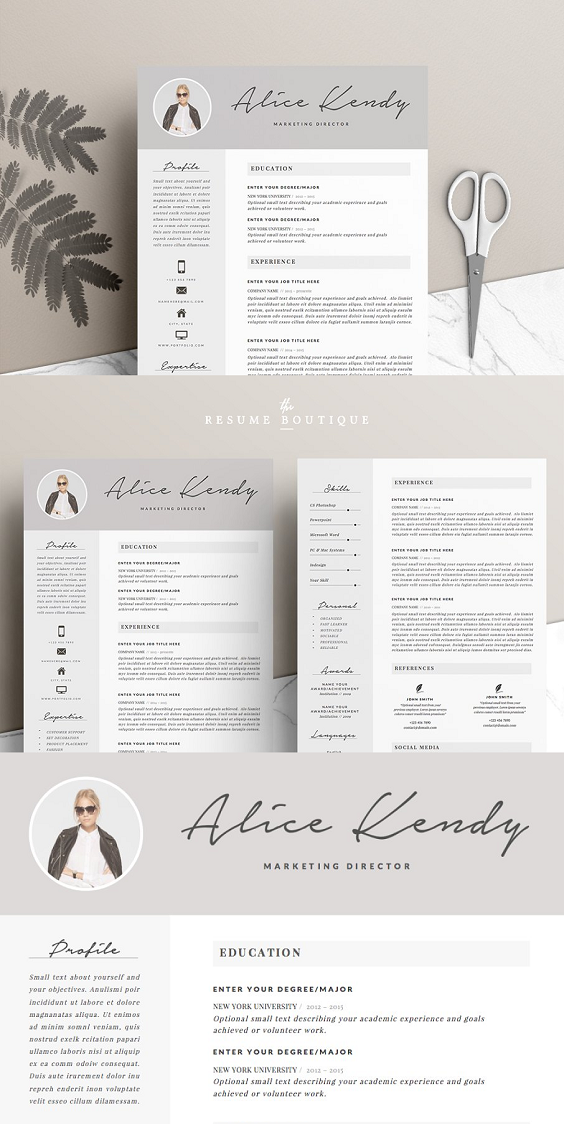 Resume Template 4 Pages Resume Cover Letter Template Cover Letter For Resume Resume Template