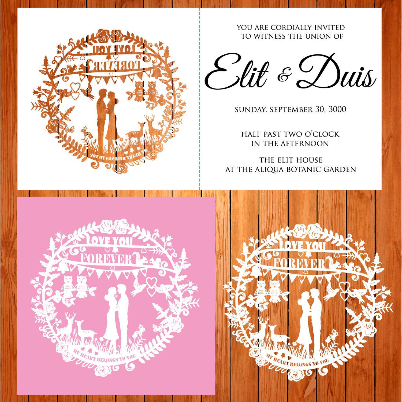 Invitación de la boda tarjeta plantilla calado, enamorados, pájaros ...