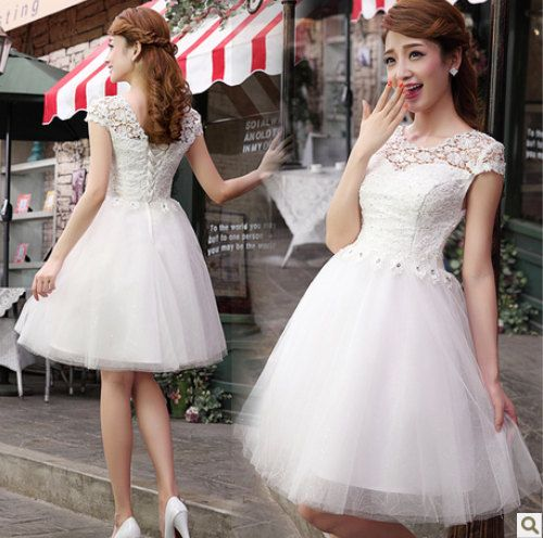 white Lace prom dress short prom dress / white prom by MM520 ...