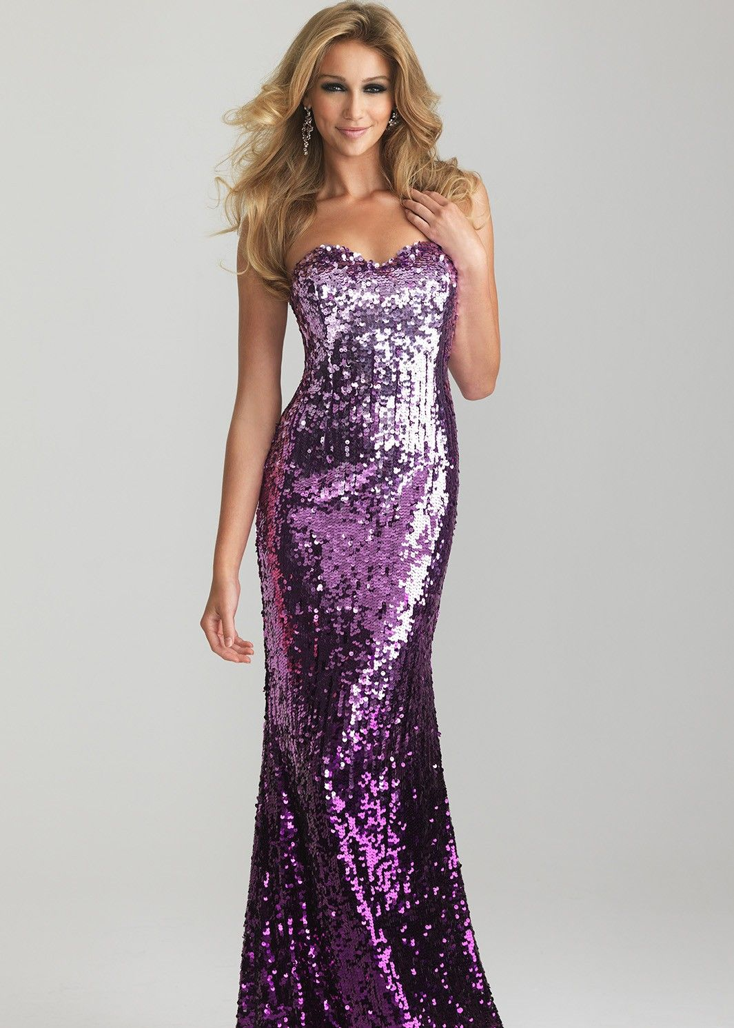 Sparkly Purple Ombre Strapless Sequin Prom Dress - Night ...